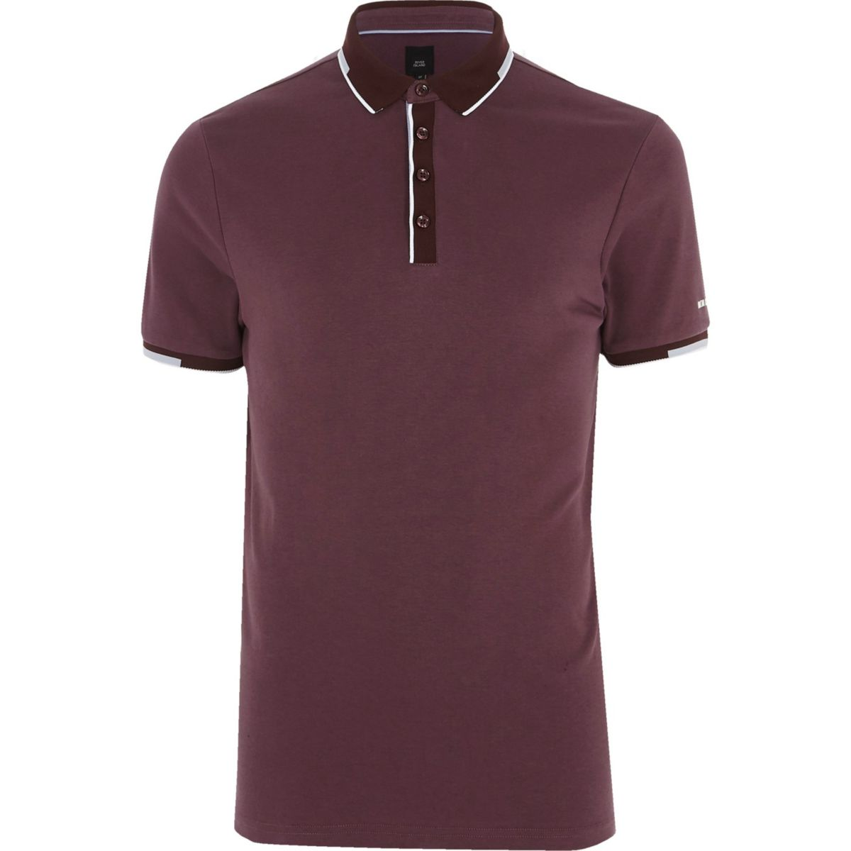 Dark purple slim fit sporty tipped polo shirt