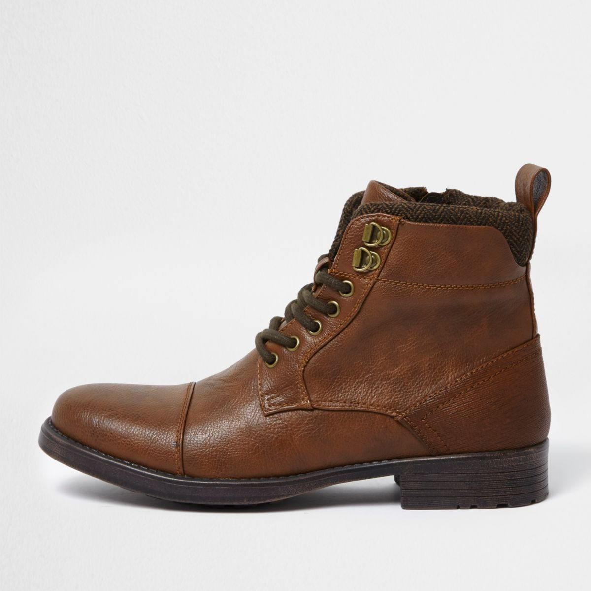 Brown lace-up toe cap boots