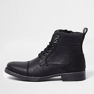 Black lace-up toe cap boots