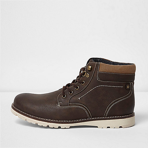 Brown lace-up contrast sole work boots