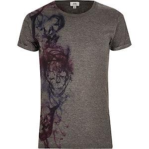 T-shirt ras-du-cou imprimé tête de mort gris foncé