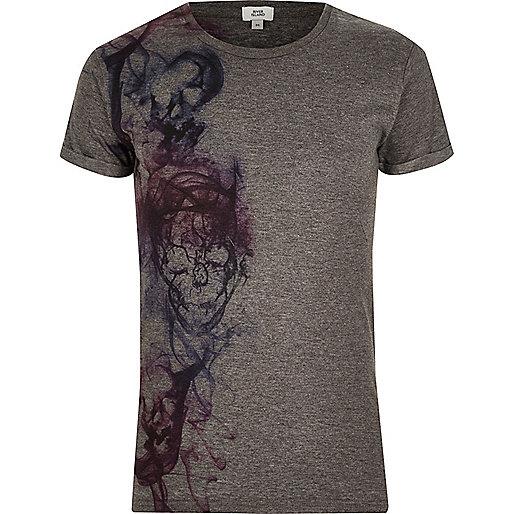 Dark grey skull print crew neck T-shirt
