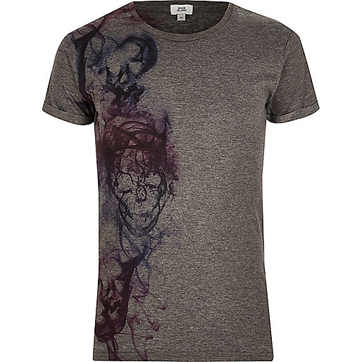 Dark grey skull print crew neck T-shirt