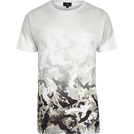 White mono camo fade crew neck T-shirt