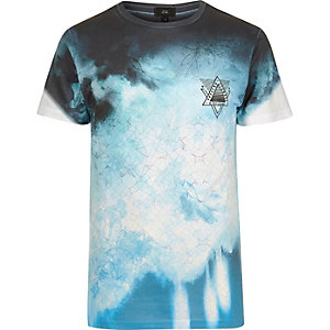 White and blue floral smudge print T-shirt