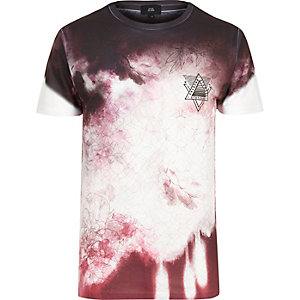 White and red floral smudge print T-shirt