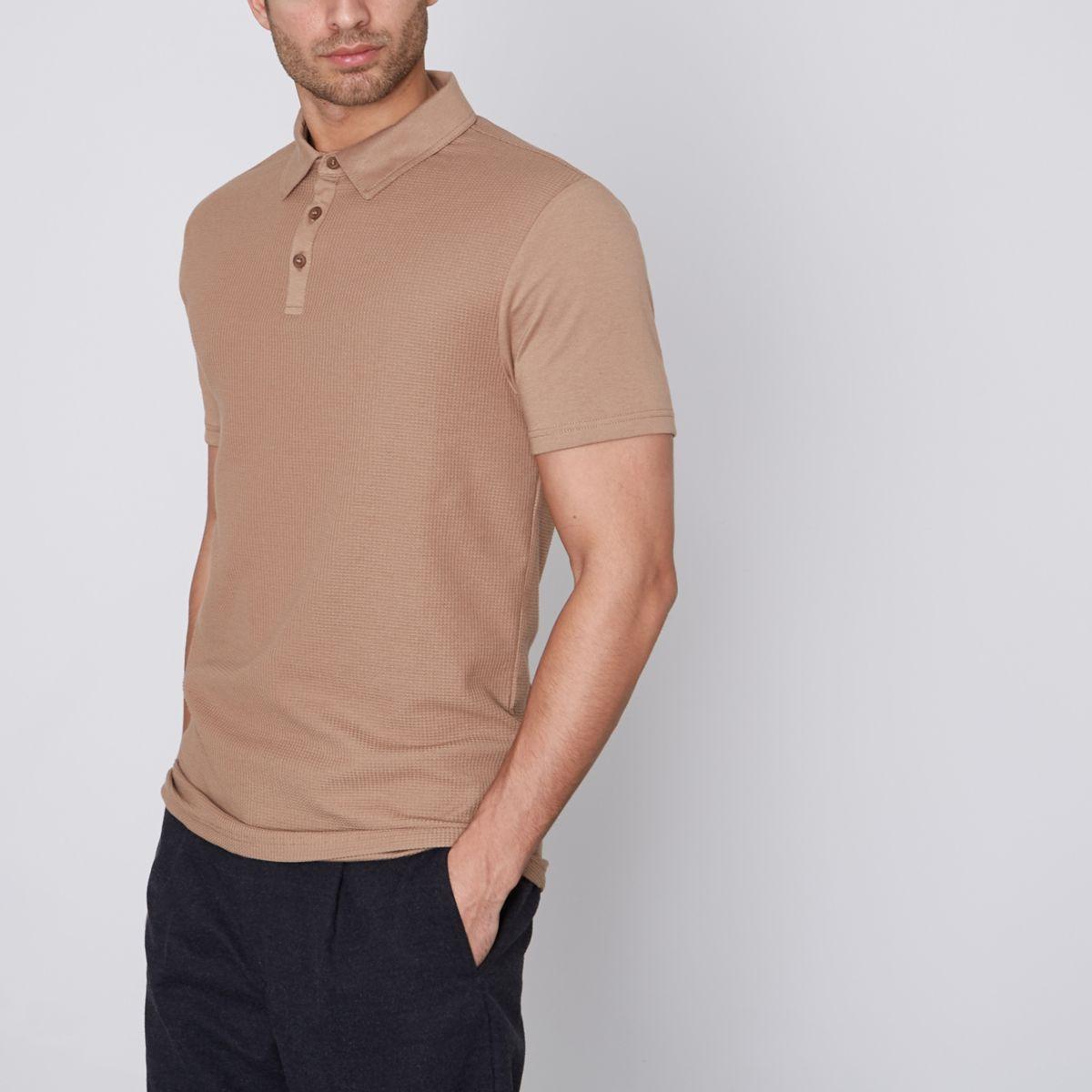 Tan waffle slim fit polo shirt