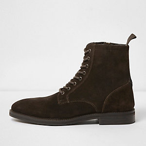 Dark brown suede lace-up boots