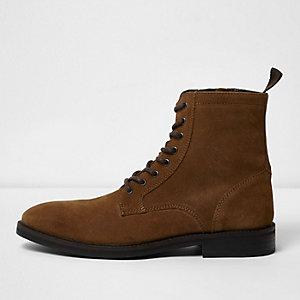 Bruine suède laarzen met veters