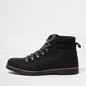 Bottes de travail en cuir noir à lacets