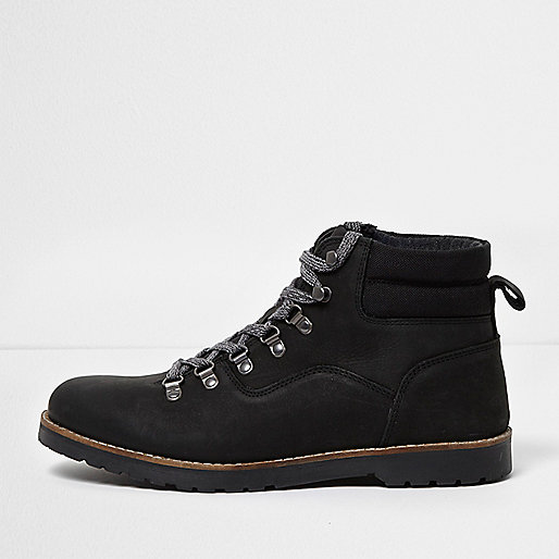 Black leather lace-up work boots