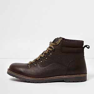 Brown leather lace-up work boots
