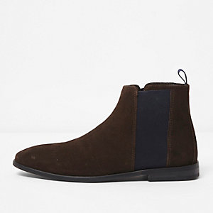 Dark brown and navy suede chelsea boots