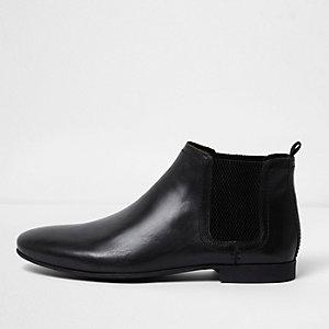 Schwarze Chelsea-Stiefel aus Leder