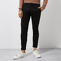 Black slim fit ankle grazer chino pants