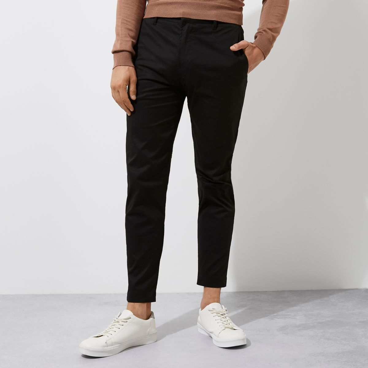 Black slim fit ankle grazer chino trousers