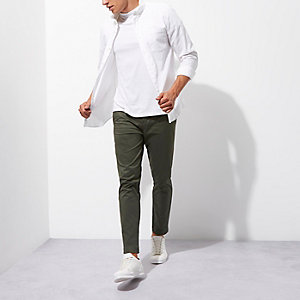 Green slim fit cropped chino trousers