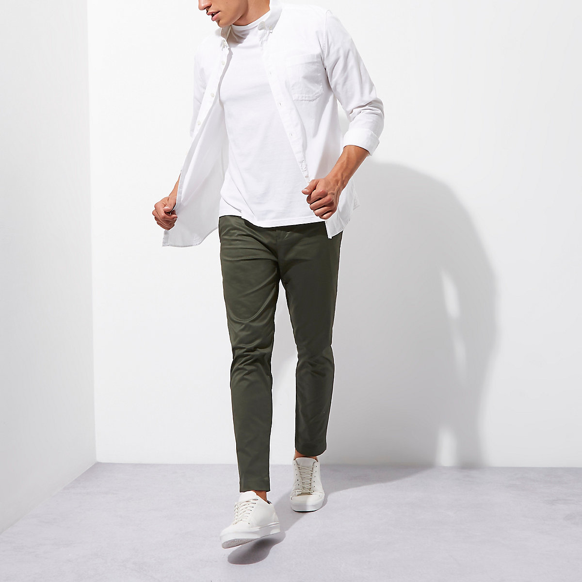 Green slim fit ankle grazer chino trousers