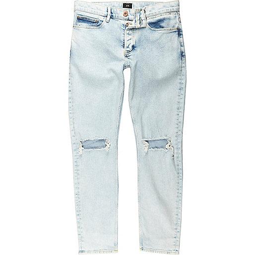 Light blue ripped knee skinny jeans