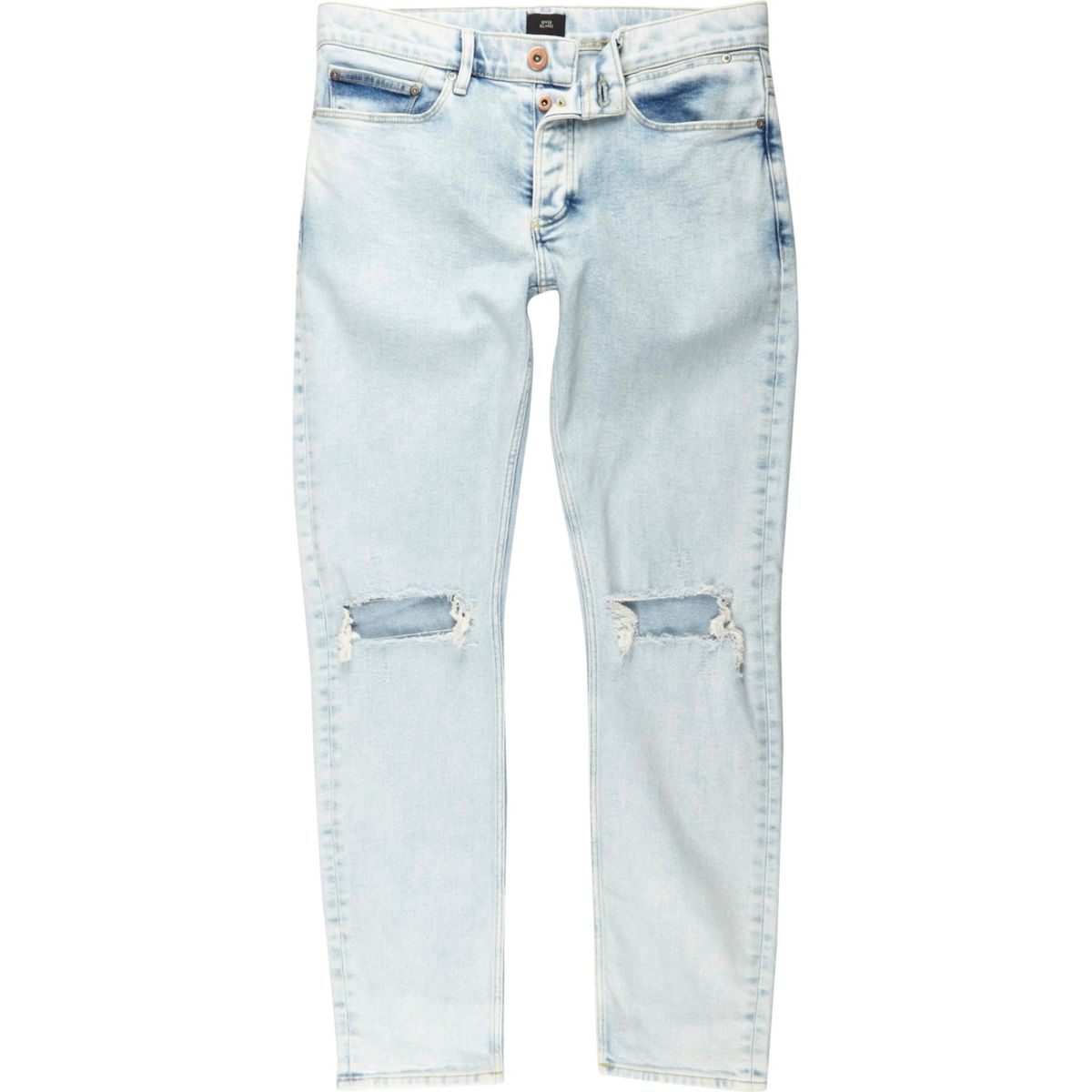 Light blue ripped knee skinny jeans