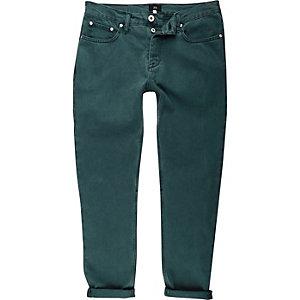 Jimmy - Blauwgroene smaltoelopende jeans