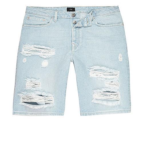 Light blue wash ripped slim fit denim shorts
