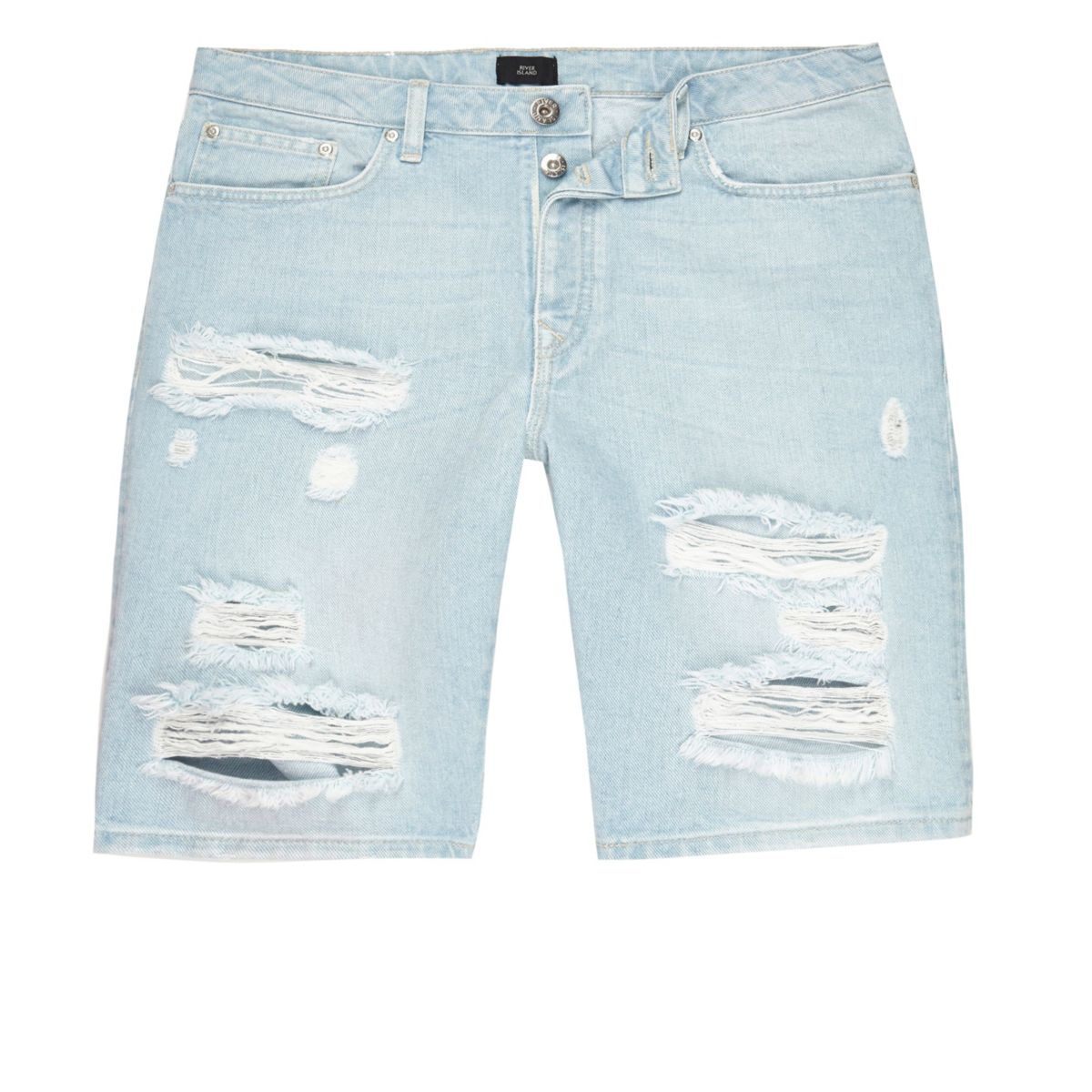 Light blue wash ripped slim fit denim shorts
