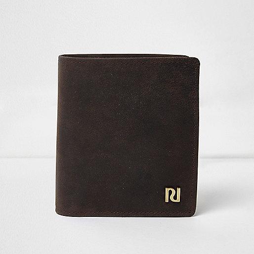 Dark brown waxed leather wallet