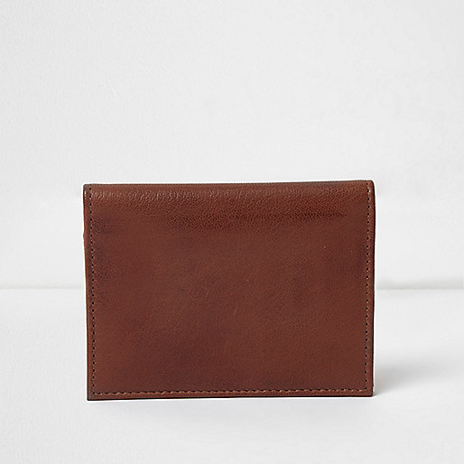 Brown leather 'one way' print cardholder