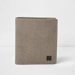 Portefeuille en cuir gris texturé