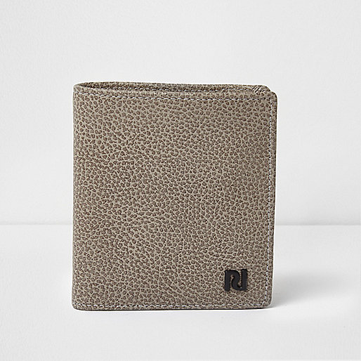 Grey textured leather wallet