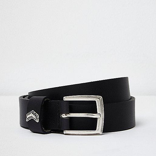 Black leather arrow belt
