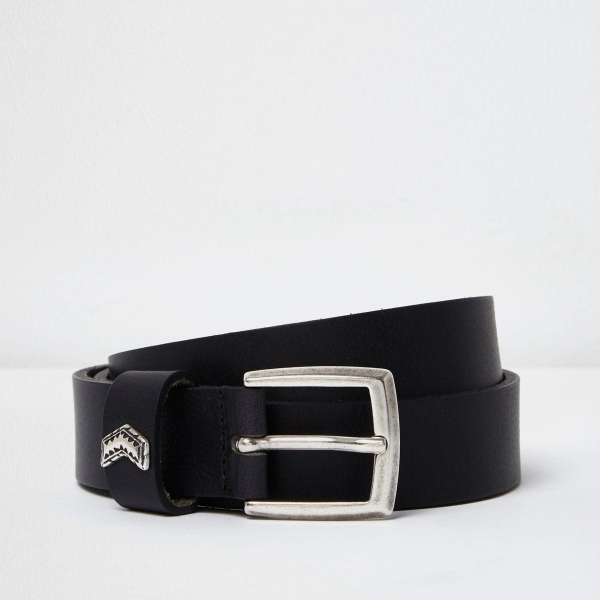 Belts men accessories river island black leather arrow belt gamestrikefo Gallery