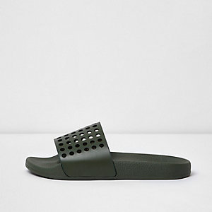 Khaki green perforated sliders