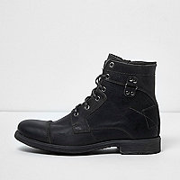 Dark grey leather military boots
