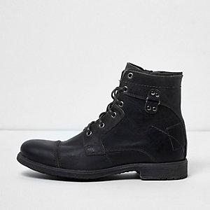 Donkergrijze leren schoenen in legerlook
