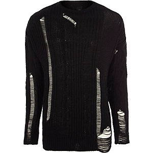 Black ladder cut out cable knit sweater