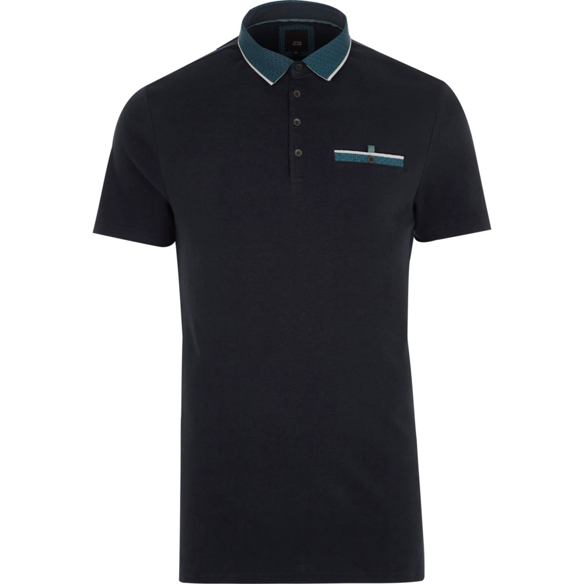 Navy geo print collar slim fit polo shirt