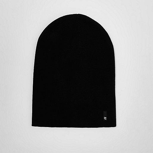 Black slouchy beanie hat