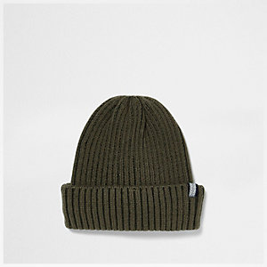 Dark khaki green fisherman beanie hat