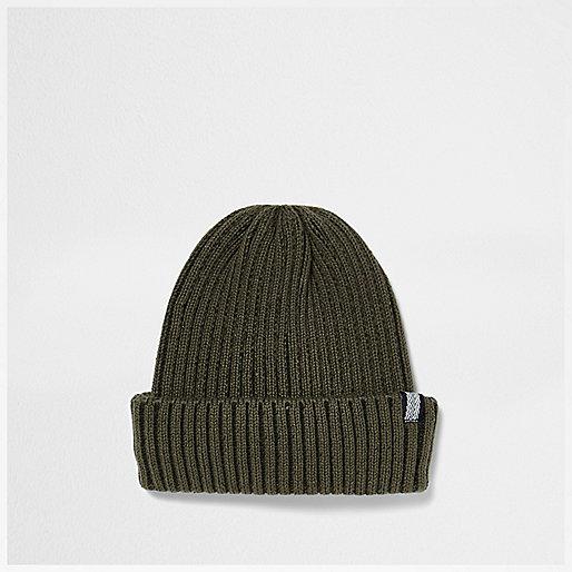 Dark khaki green fisherman beanie hat