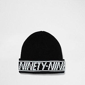 Black 'ninety nine' hem fisherman beanie hat