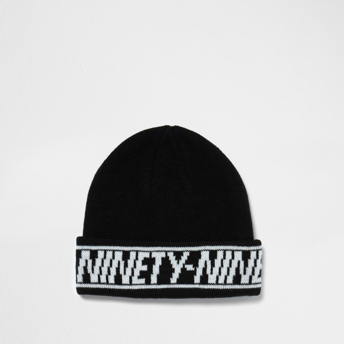 Black 'ninety nine' hem fisherman beanie hat