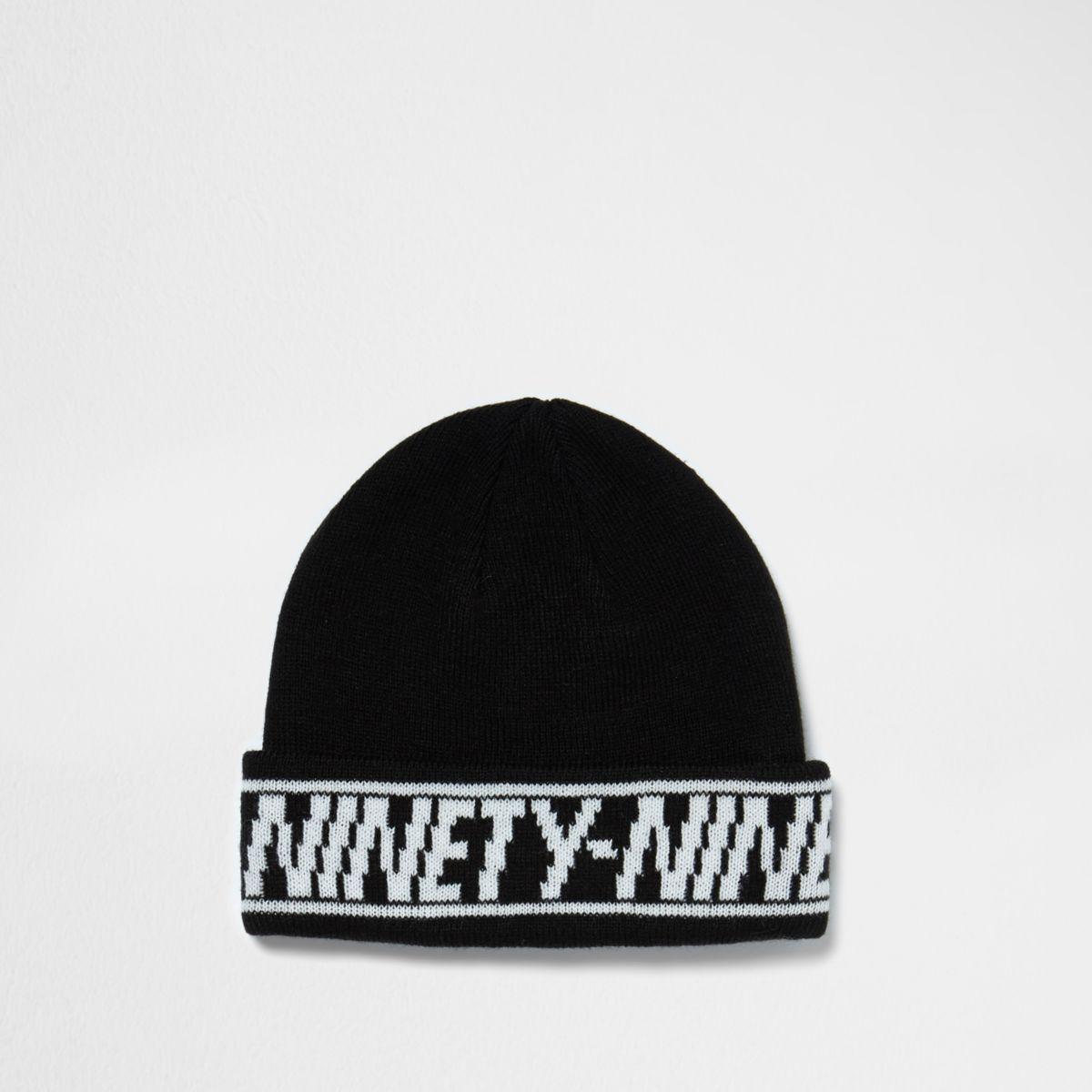Bonnet de pêcheur noir avec revers à inscription « Ninety nine»