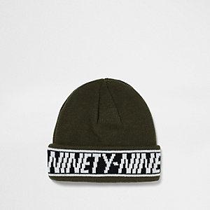 Bonnet de pêcheur kaki avec revers à inscription «Ninety nine»