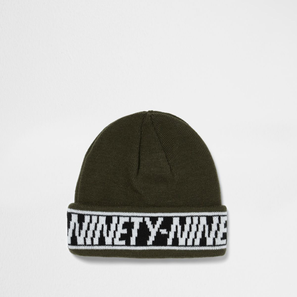 Khaki 'ninety nine' hem fisherman beanie hat