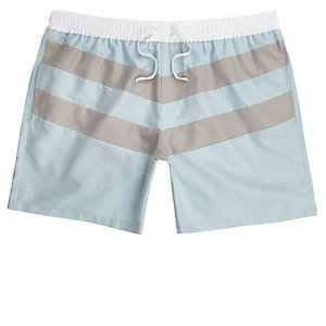 Short de bain colour block rayé bleu clair