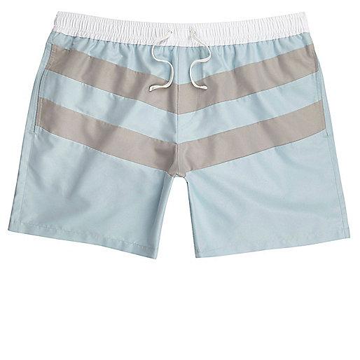 Light blue block stripe swim shorts