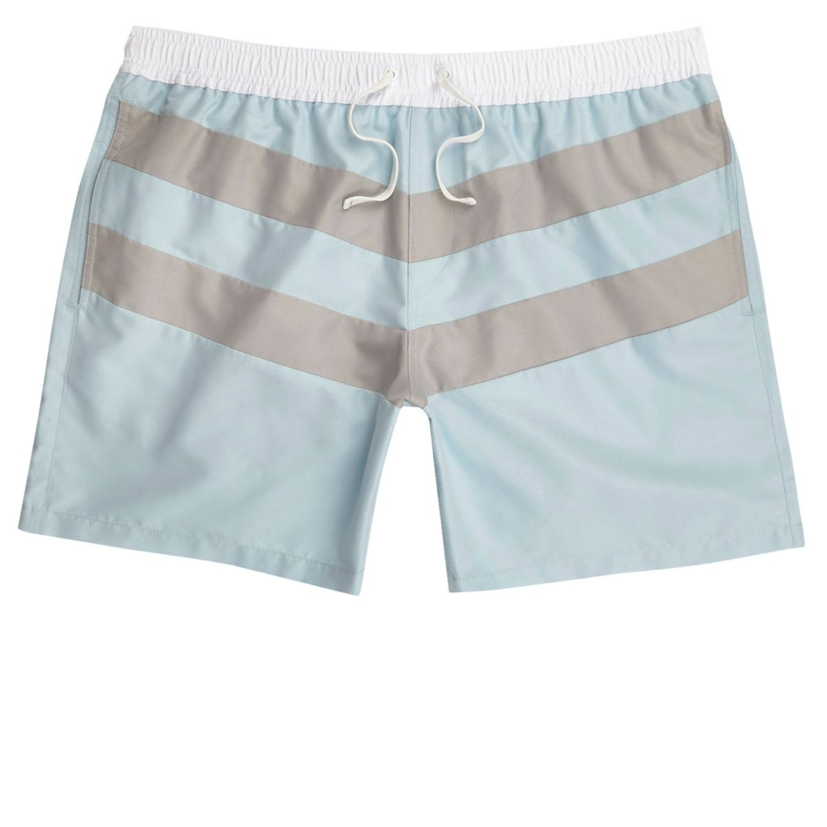 Light blue block stripe swim trunks