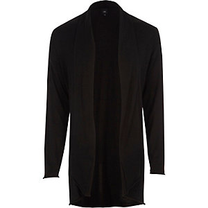 Black longline curved hem cardigan